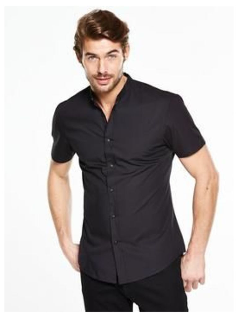 V by Very Short Sleeve Grandad Shirt, Black, Size Xs, Men