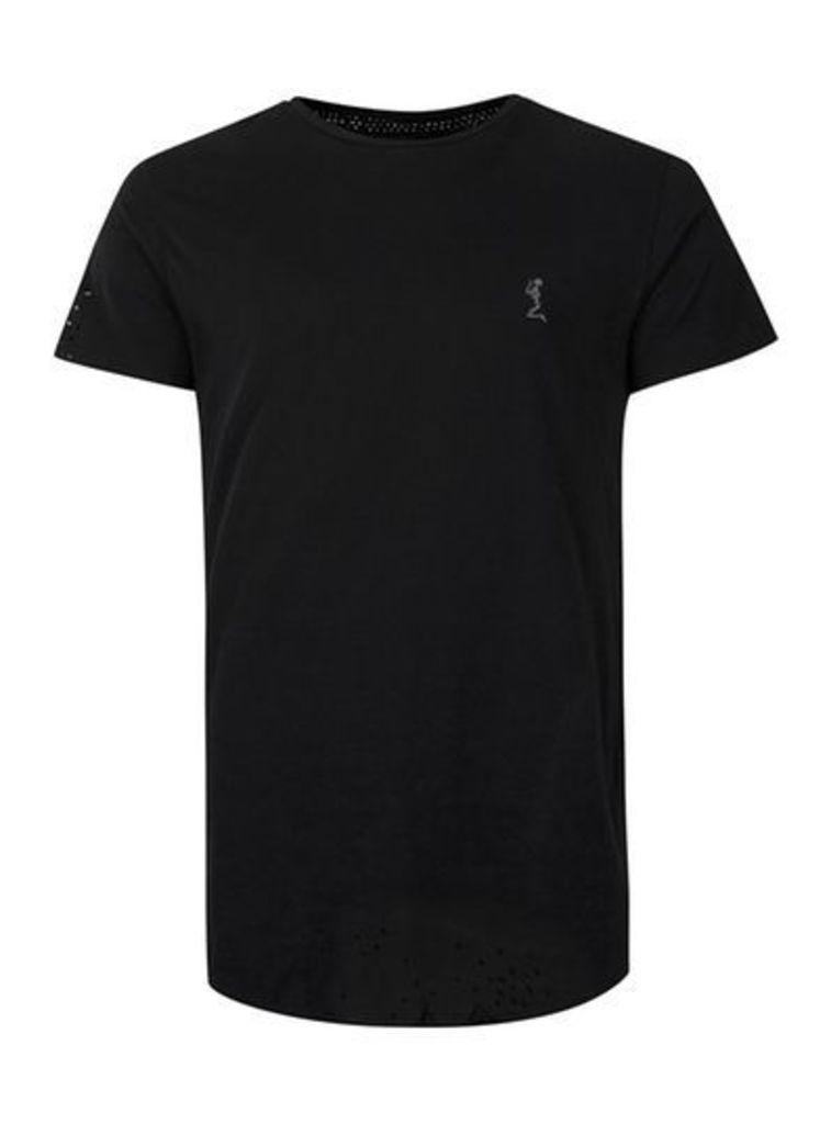 Mens RELIGION Black Perforated T-Shirt, Black