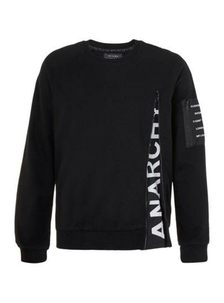 Mens RELIGION Black Logo Zip Sweatshirt, Black