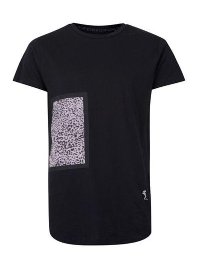 Mens RELIGION Black Leopard Patch Longline T-Shirt, Black
