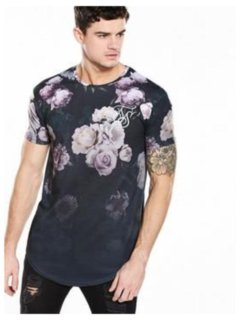 Sik Silk Garden curved hem tshirt, Black, Size Xl, Men