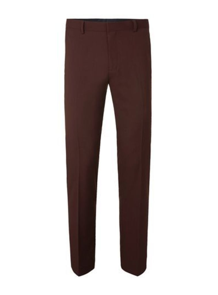 Mens Brown Rust Twill Skinny Fit Suit Trousers, Brown
