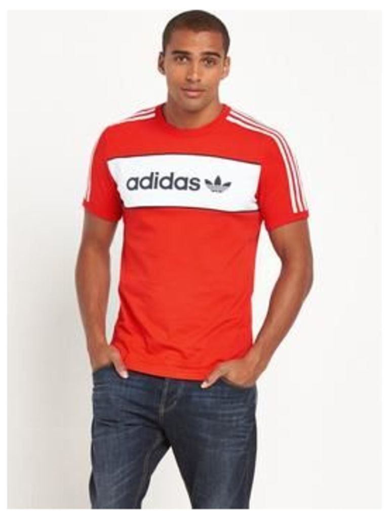 adidas Originals Colour Block London T-Shirt, Red, Size Xs, Men