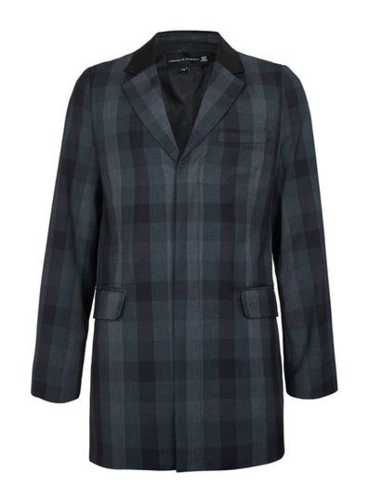 Mens Grey ROGUES OF LONDON Longline Check Suit Jacket, Grey