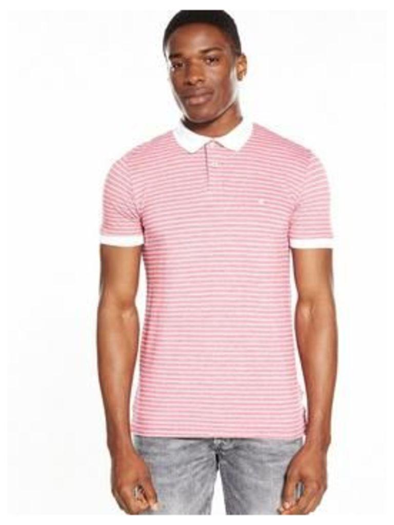 Wrangler Short Sleeve Striped Polo, Red/White, Size M, Men