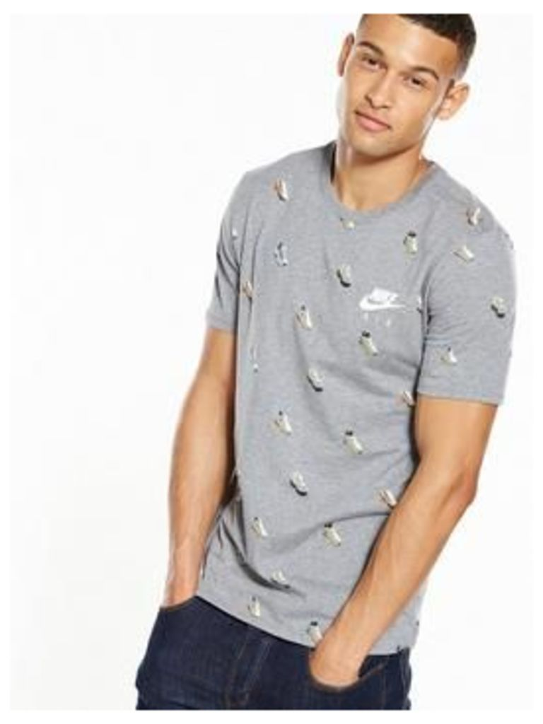 Nike Air Max All Over Print Mens T-Shirt, Carbon Heather, Size M, Men