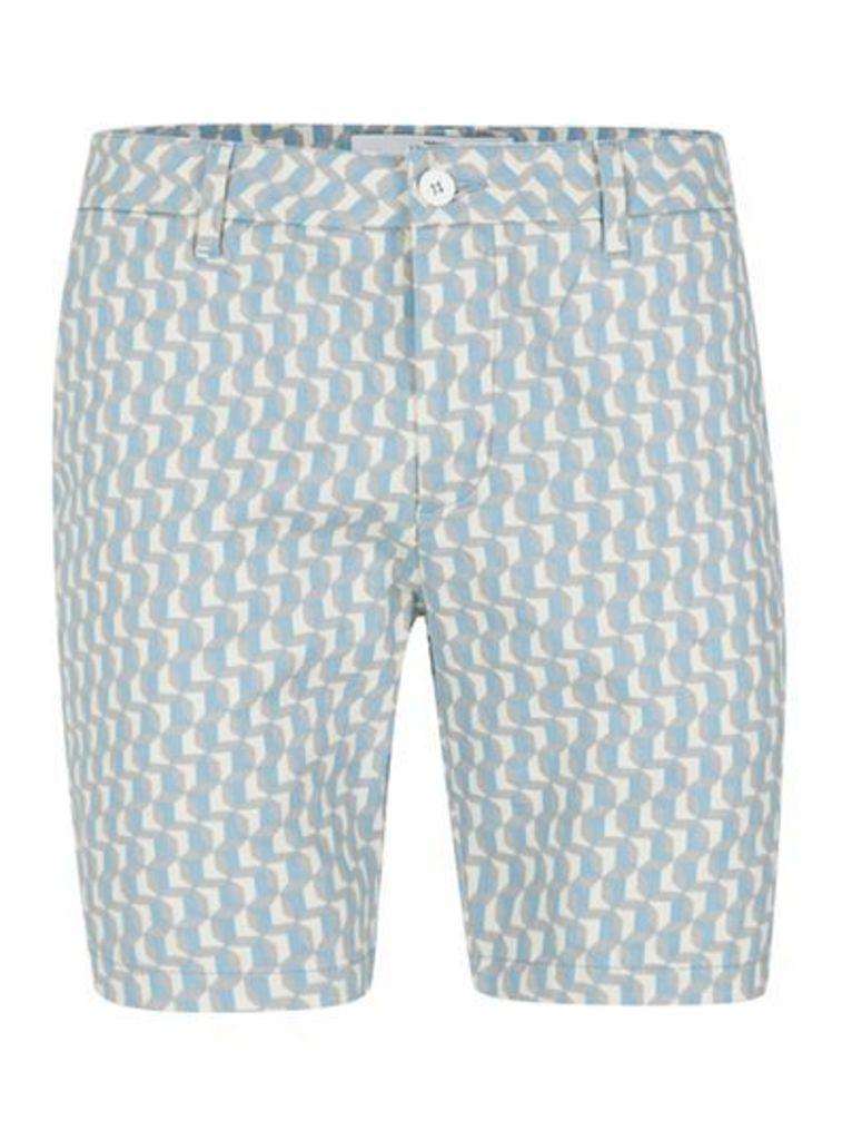 Mens Blue Geometric Skinny Chino Shorts, Blue