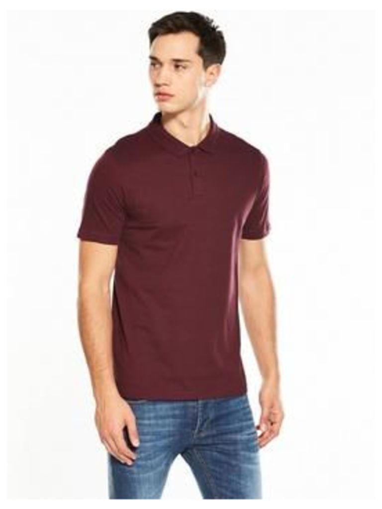 V by Very Short Sleeve Jersey Polo, Burgundy, Size Xs, Men