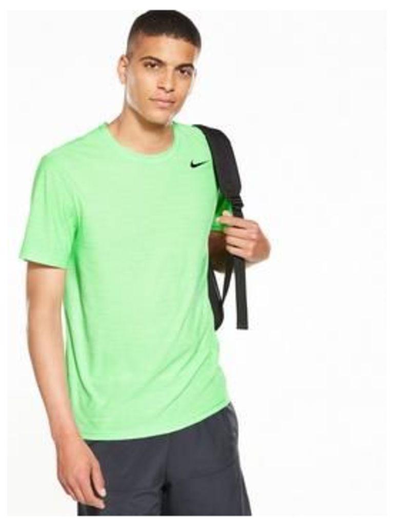 Nike Breathe Training T-Shirt, Green, Size S, Men