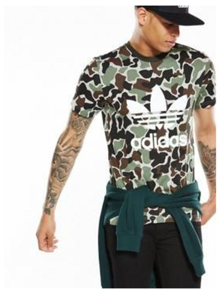 adidas Originals Camo Print T-Shirt, Camo, Size L, Men