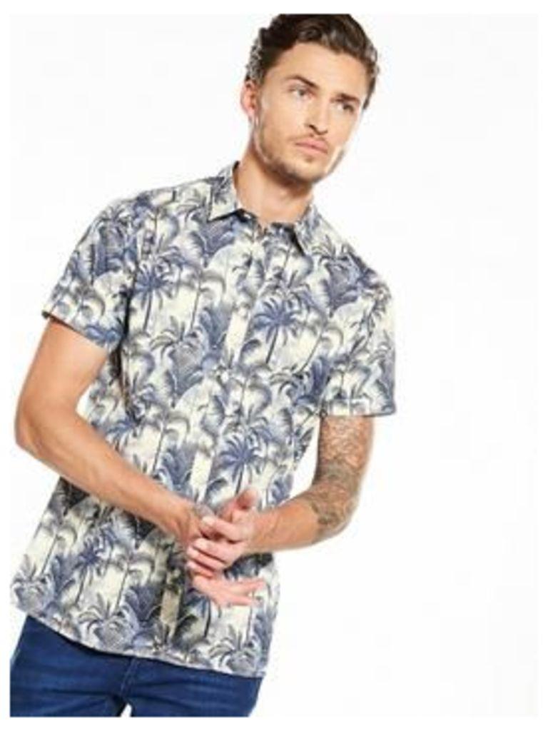Selected Homme Floral Short Sleeve Shirt, Seedpearl, Size L, Men