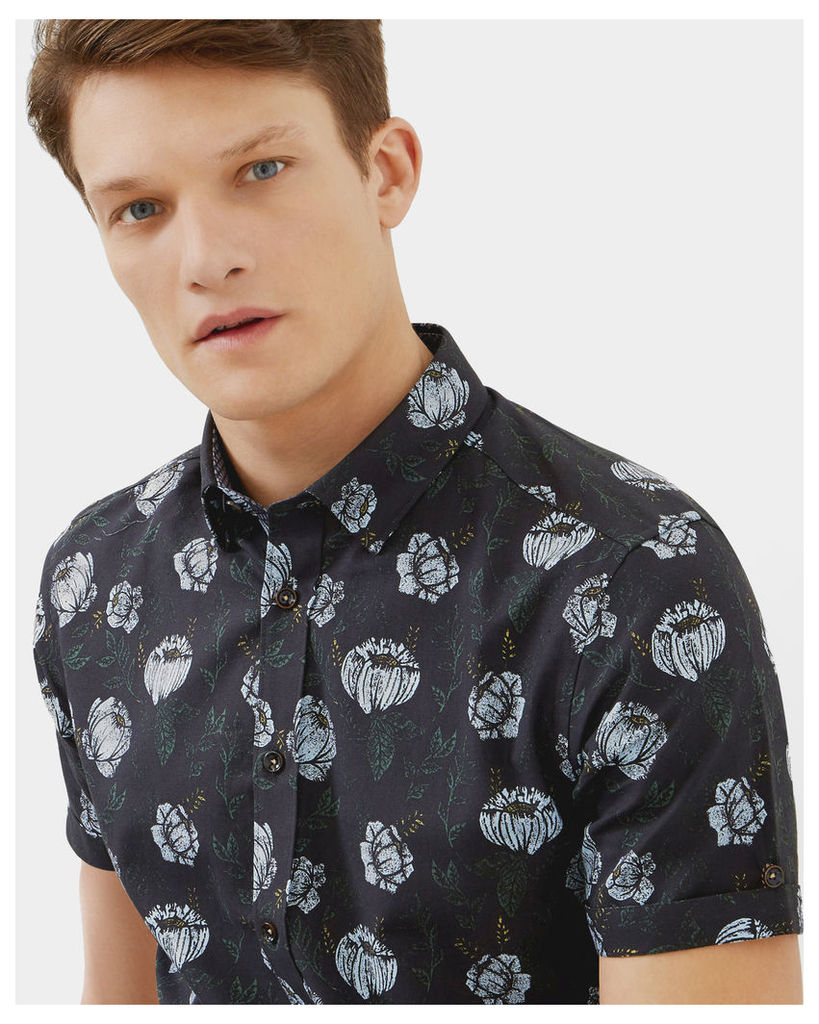 Ted Baker Floral cotton shirt Navy