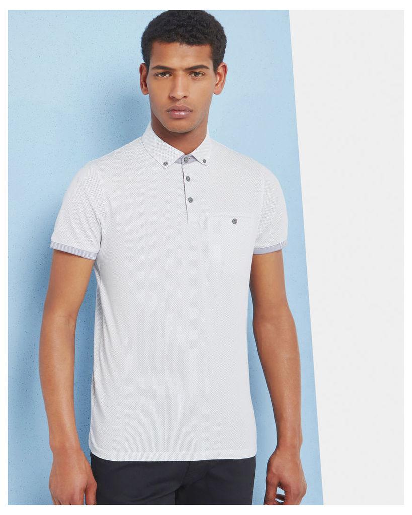 Ted Baker Geo print cotton polo shirt Grey