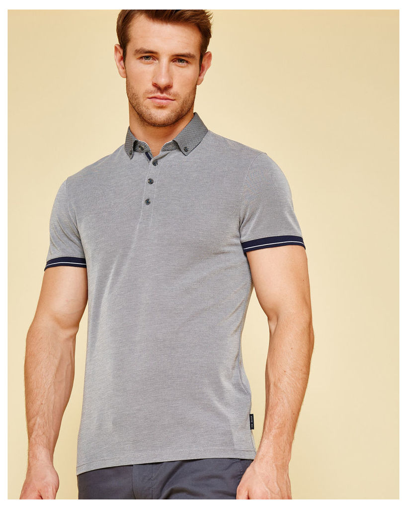 Ted Baker Contrast trim Oxford polo shirt Navy