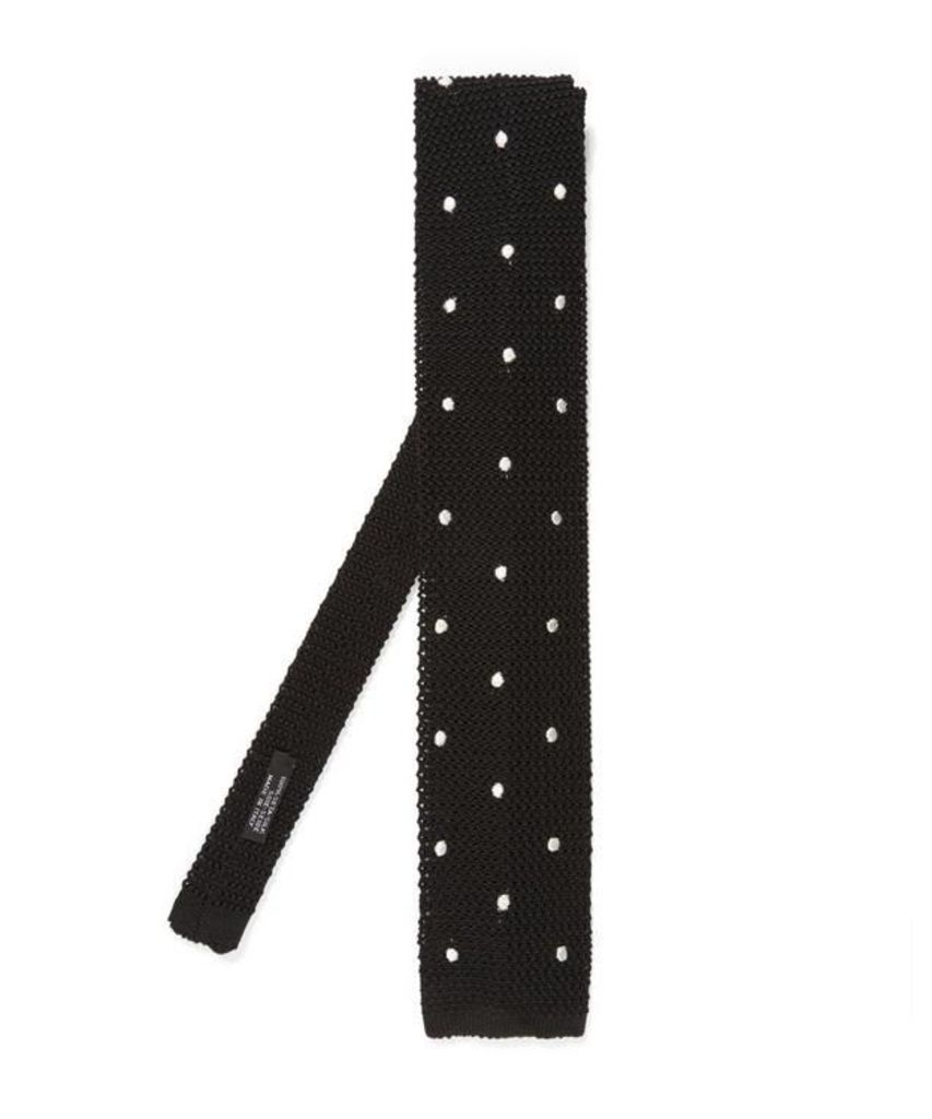 Charcoal And Red Spot Knitted Silk Tie, Nick Bronson