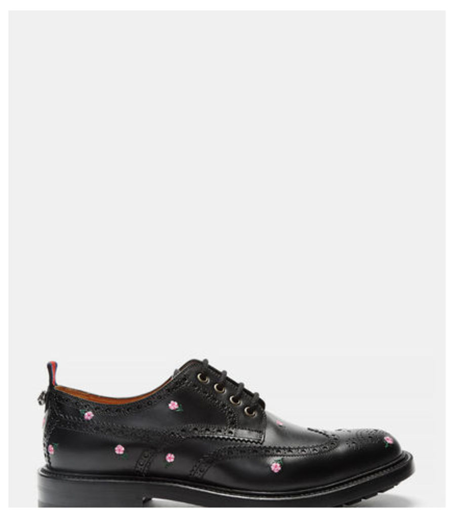 Floral Embroidered Leather Brogues