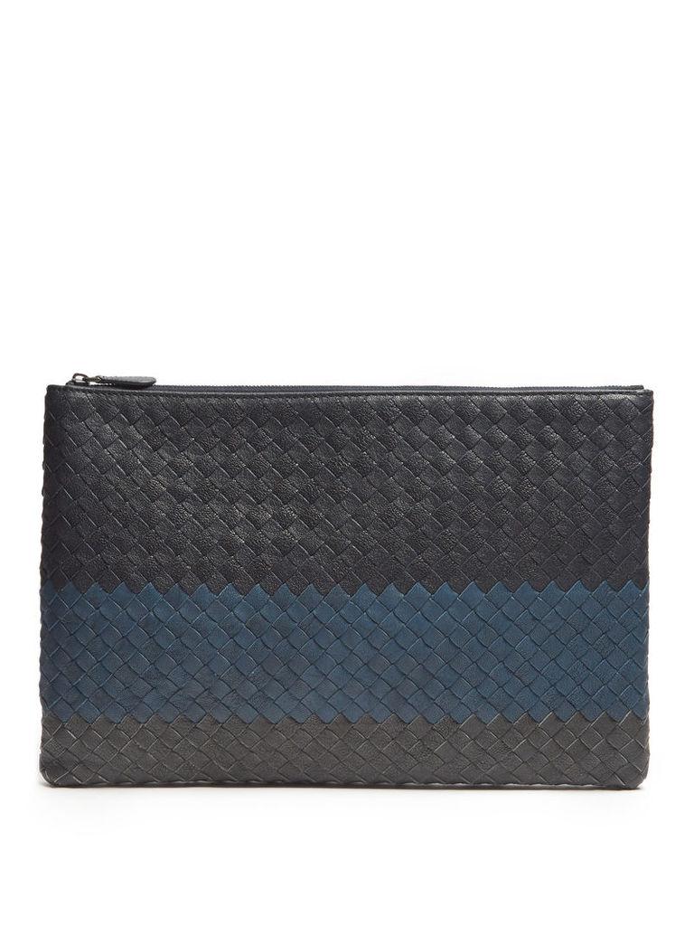 Intrecciato medium leather pouch