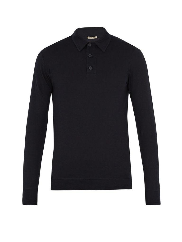 Long-sleeved cotton-blend jersey polo shirt