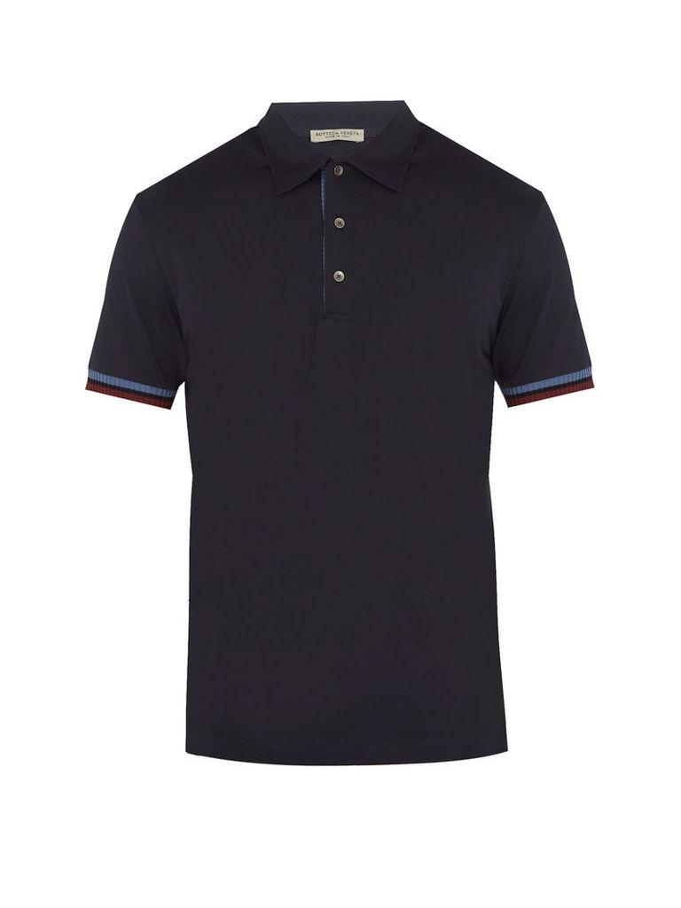 Contrast-cuff cotton-jersey polo shirt