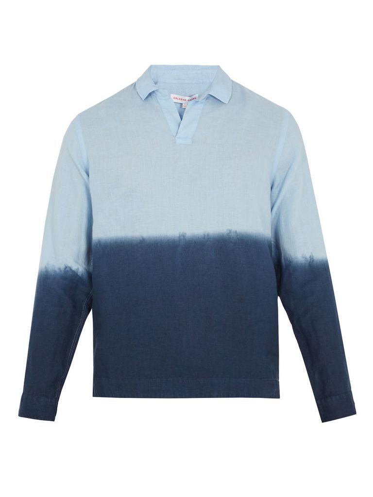 Ridley linen long-sleeved polo shirt