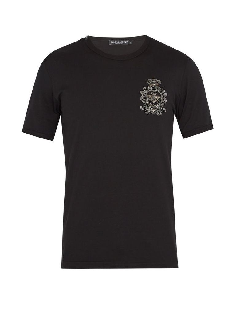 Crest-embroidered cotton T-shirt