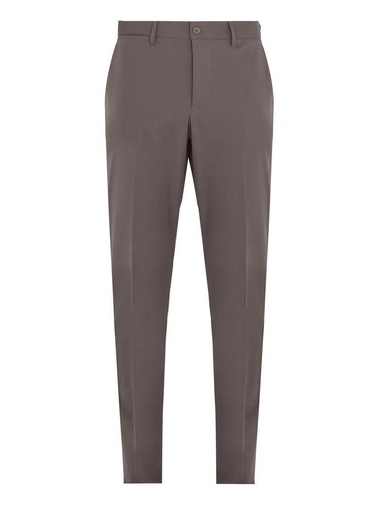 Straight-leg cotton-blend chino trousers