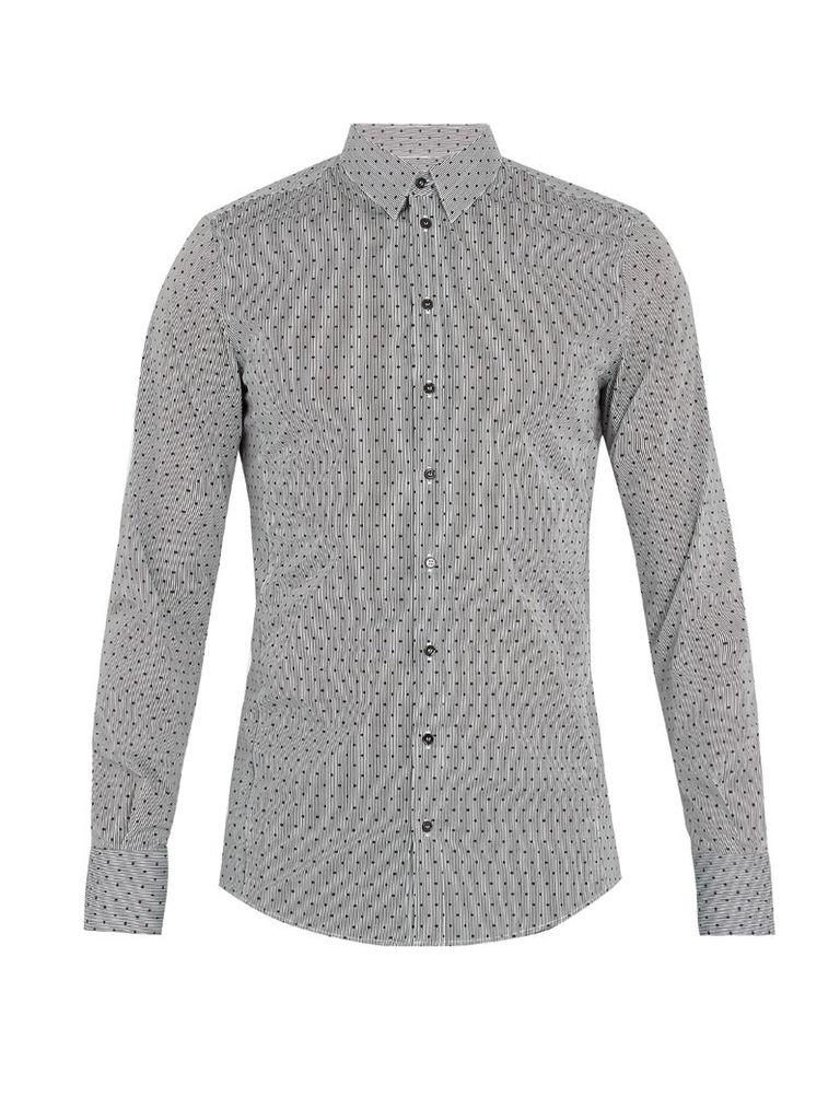 Single-cuff polka-dot print cotton-blend shirt