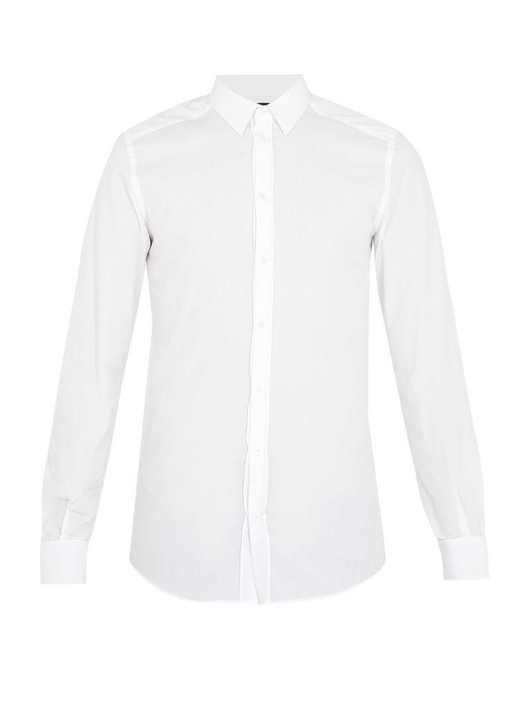 Single-cuff textured cotton-poplin shirt