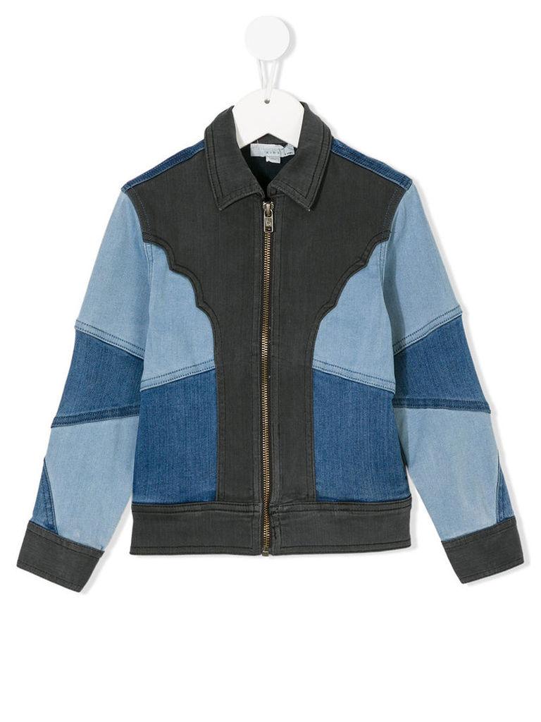 Stella Mccartney Kids - color block denim jacket - kids - Cotton/Polyester/Spandex/Elastane/Viscose - 4 yrs, Blue