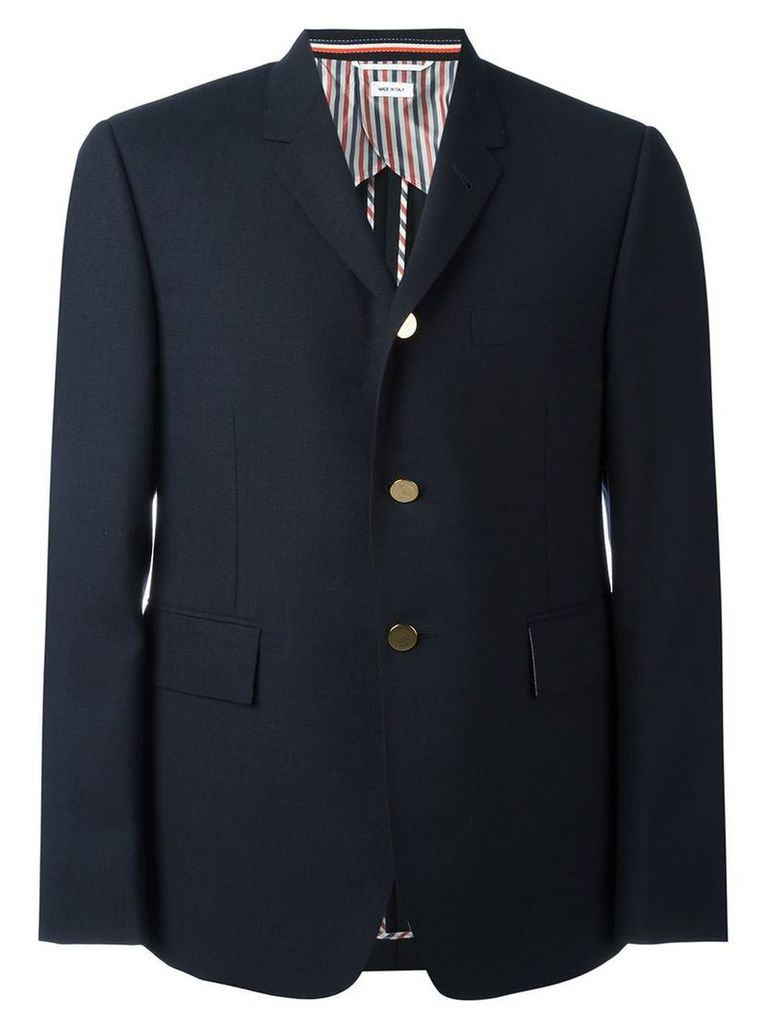 Thom Browne - single breasted blazer - men - Cupro/Wool - 3, Blue