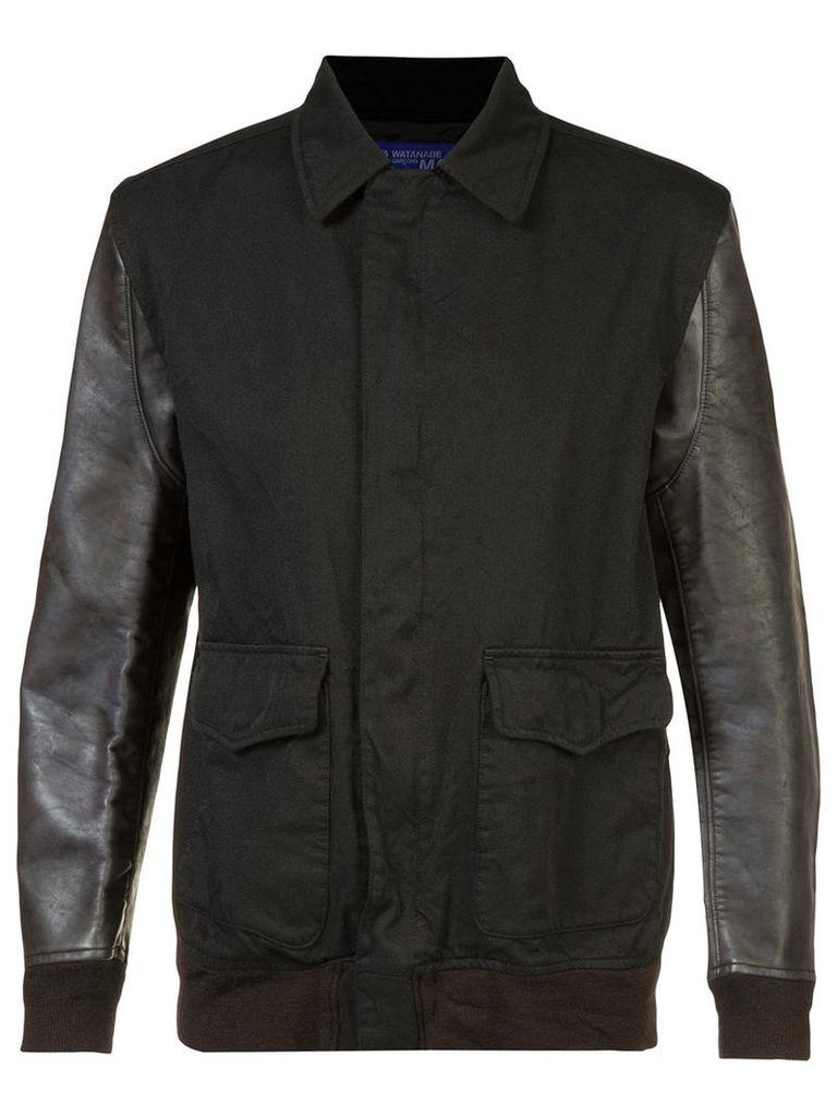 Junya Watanabe Comme Des Garçons - contrast sleeve shirt jacket - men - Cotton/Polyester/Artificial Leather - M, Black