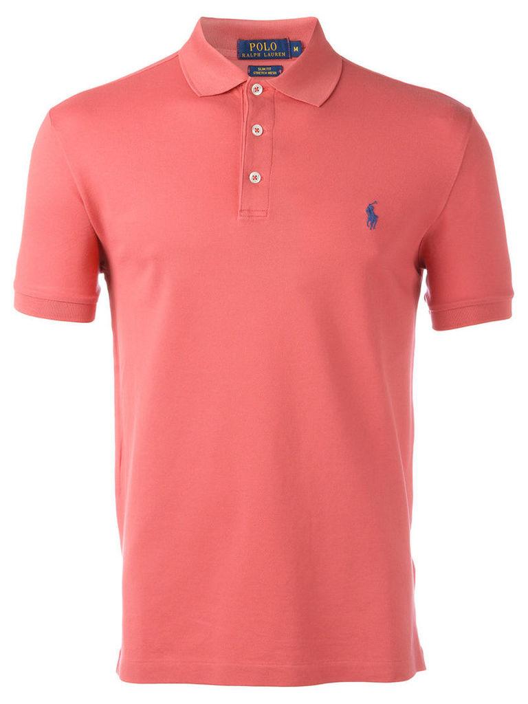 Polo Ralph Lauren - logo patch polo shirt - men - Cotton/Spandex/Elastane - M, Pink/Purple