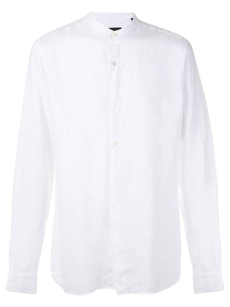 Z Zegna - Korean collar long sleeve shirt - men - Linen/Flax - M, White