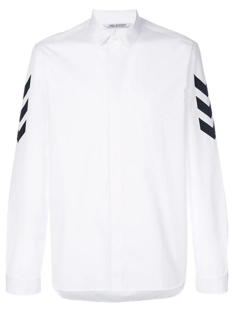 Neil Barrett - arrow print sleeve shirt - men - Cotton - 41, White