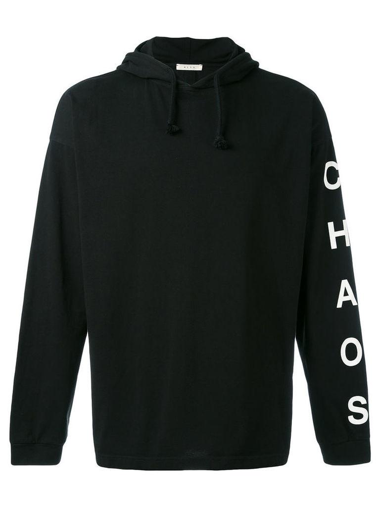 Alyx - printed arm drawstring hoodie - men - Cotton - XL, Black