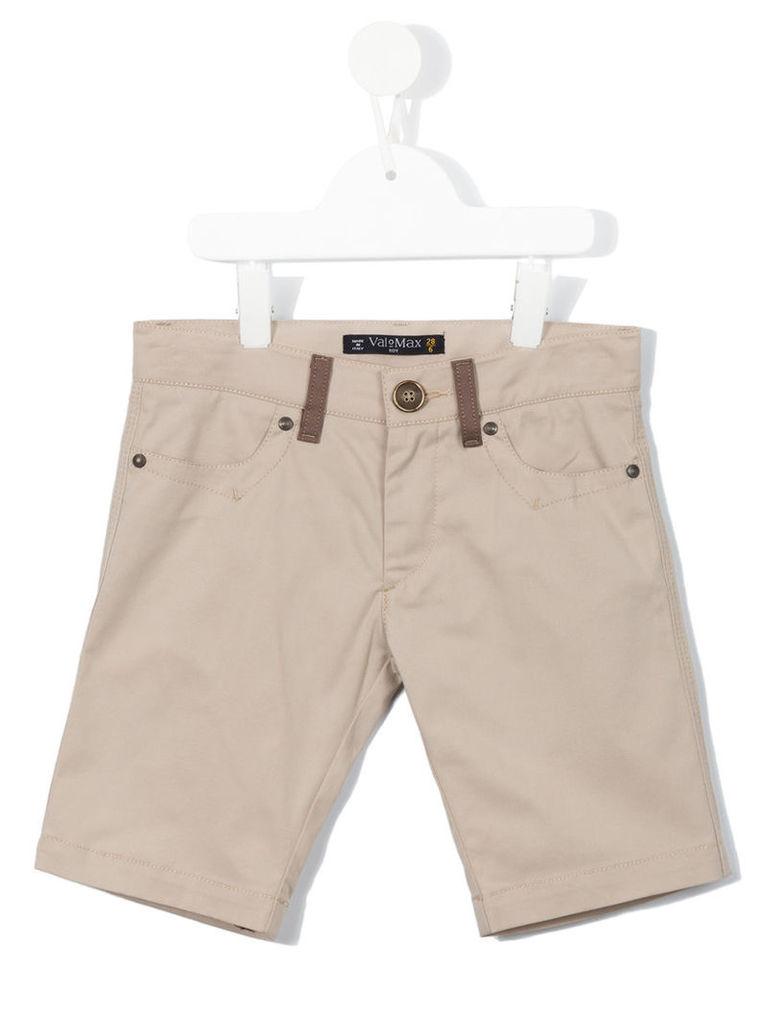 Valmax Kids - trim detail shorts - kids - Cotton/Elastodiene - 12 yrs, Nude/Neutrals