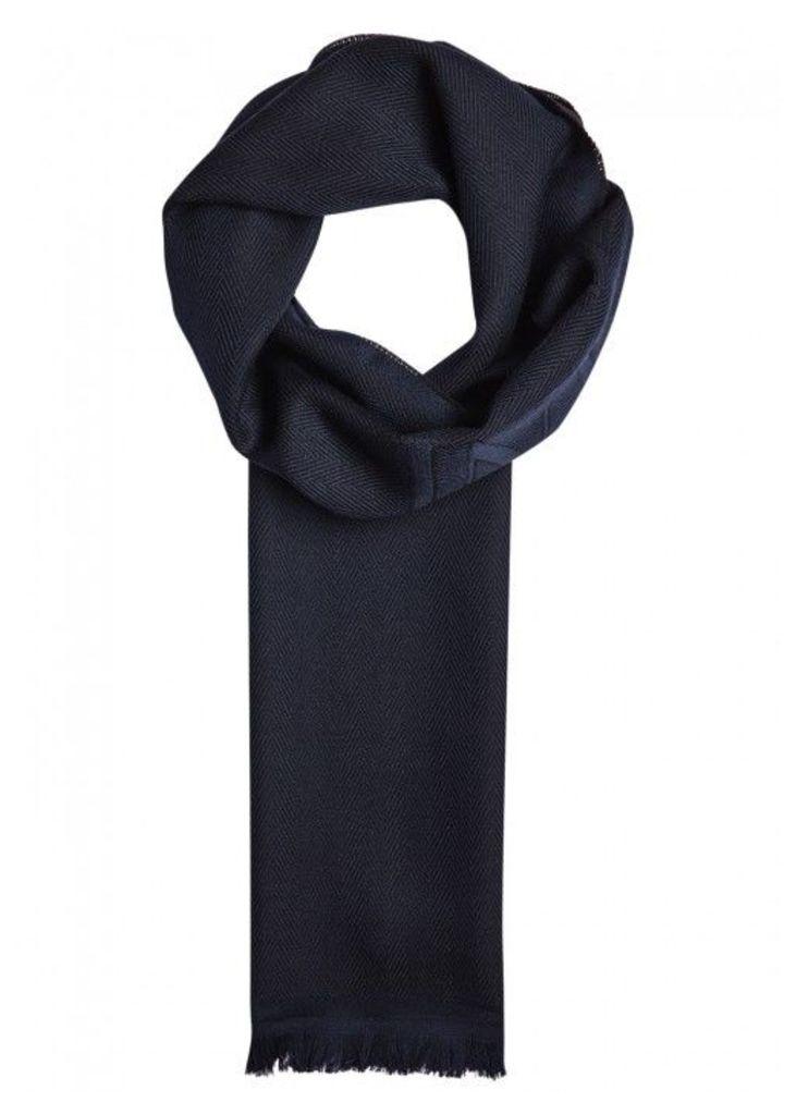 Armani Collezioni Herringbone Logo Wool Scarf