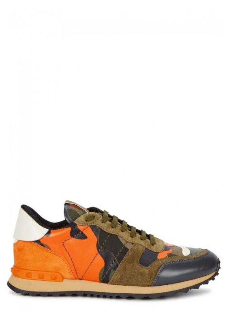 Valentino Camouflage Leather And Canvas Trainers - Size 11
