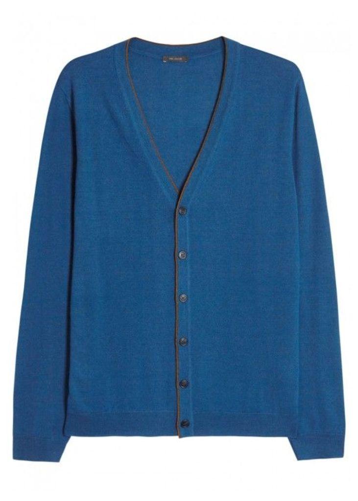 Pal Zileri Blue Merino Wool Cardigan - Size 38