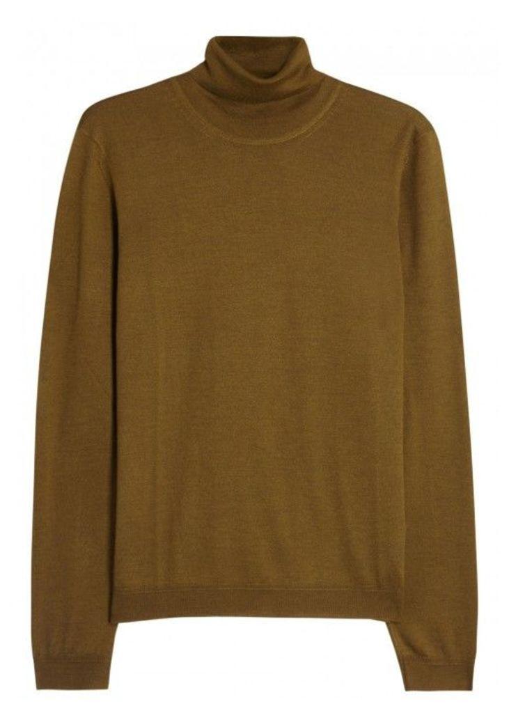 Pal Zileri Mustard Wool And Silk Blend Jumper - Size 38