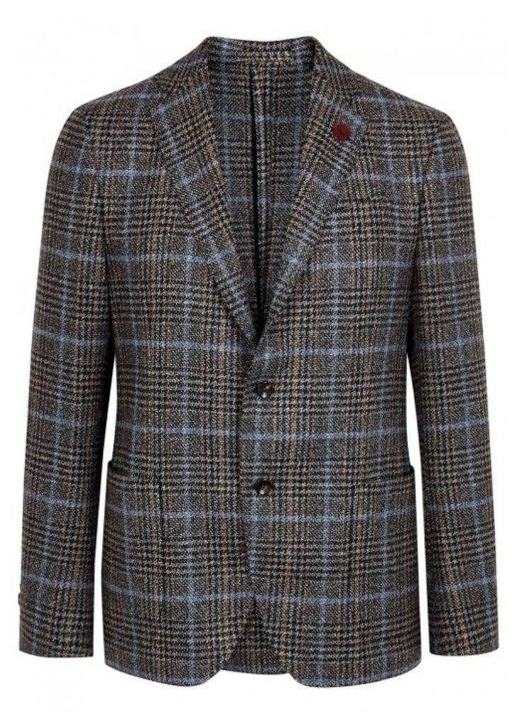 LARDINI Grey Checked Wool Blazer - Size 38