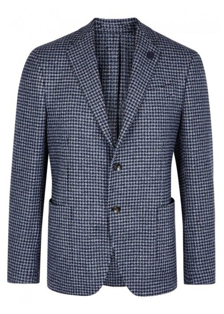 LARDINI Navy Houndstooth Wool Blazer - Size 38