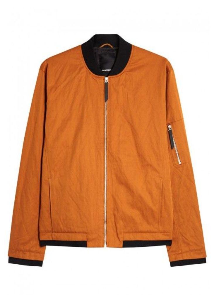 J.Lindeberg Bounce Orange Twill Bomber Jacket - Size M