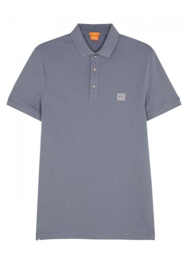 BOSS Orange Pavlik Grey Piqu Cotton Polo Shirt - Size M