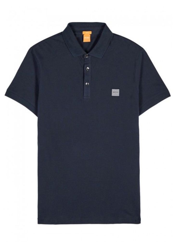 BOSS Orange Pavlik Navy Piqu Cotton Polo Shirt - Size M