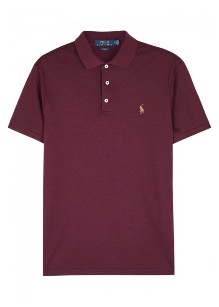 Polo Ralph Lauren Burgundy Slim Pima Cotton Polo Shirt - Size M