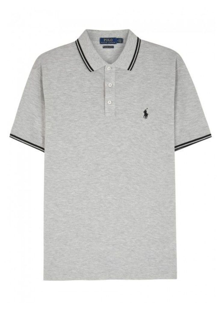 Polo Ralph Lauren Grey Piqu Cotton Polo Shirt - Size M