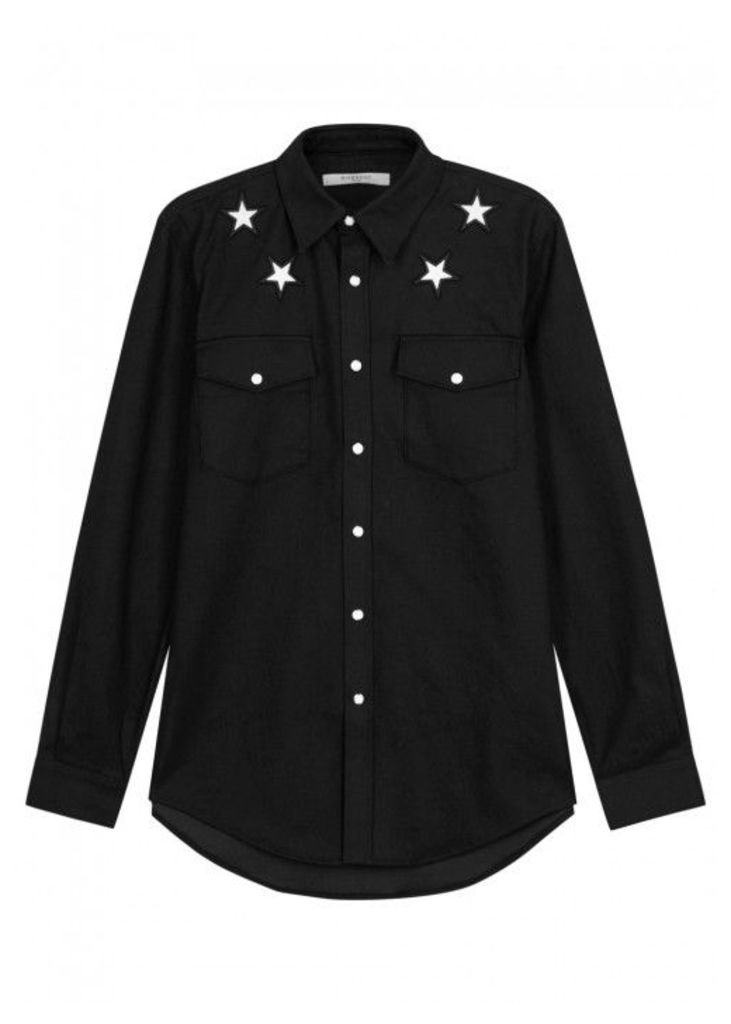 Givenchy Black Star-appliqu'd Denim Shirt - Size L