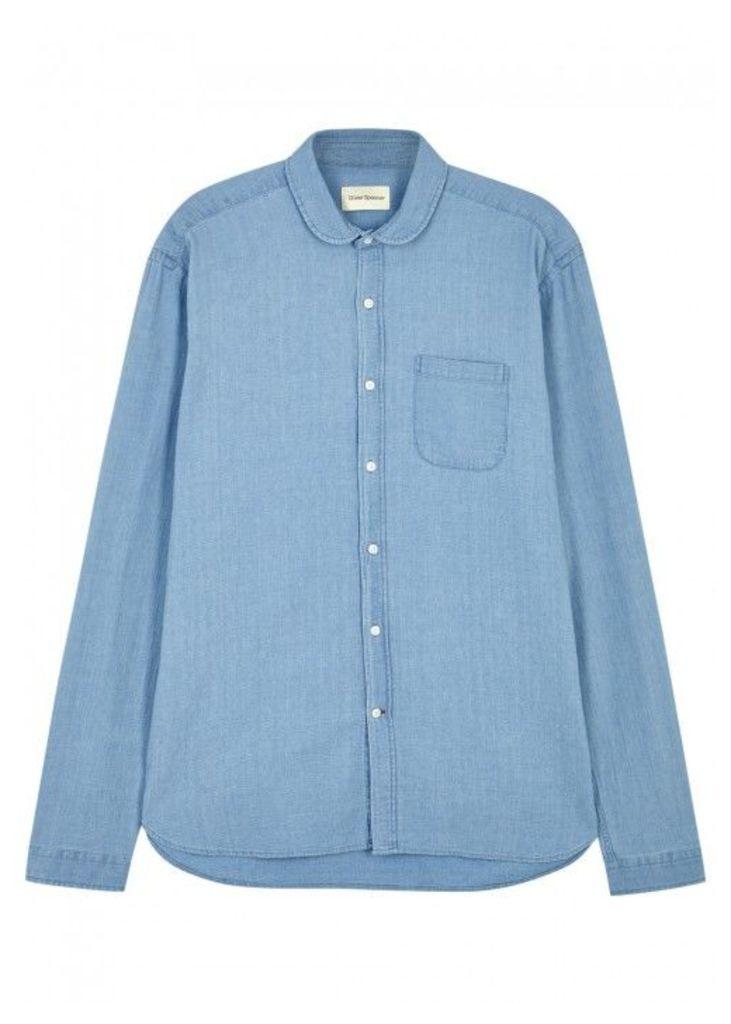 Oliver Spencer Eton Light Blue Denim Shirt - Size 15