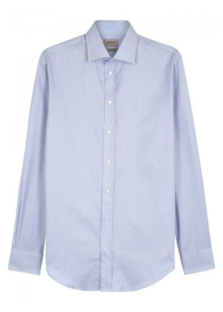Armani Collezioni Blue Striped Cotton Shirt - Size 15.5